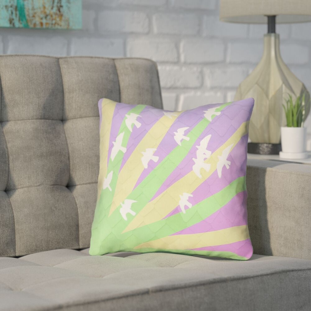 Enciso Birds and Sun Faux Leather Pillow Cover Size: 20
