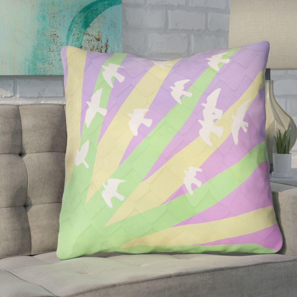 Enciso Birds and Sun Square Euro Pillow Color: Purple/Blue/Yellow