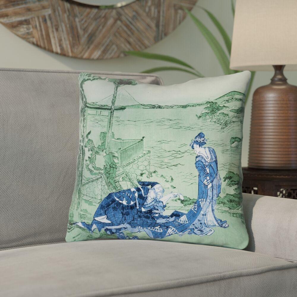Enya Japanese Courtesan Down Alternative Throw Pillow Color: Blue/Green, Size: 26