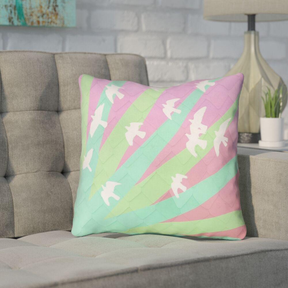 Enciso Birds and Sun Outdoor Throw Pillow Size: 18