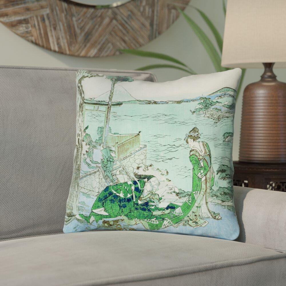 Enya Japanese Courtesan Cotton Throw Pillow Size: 26