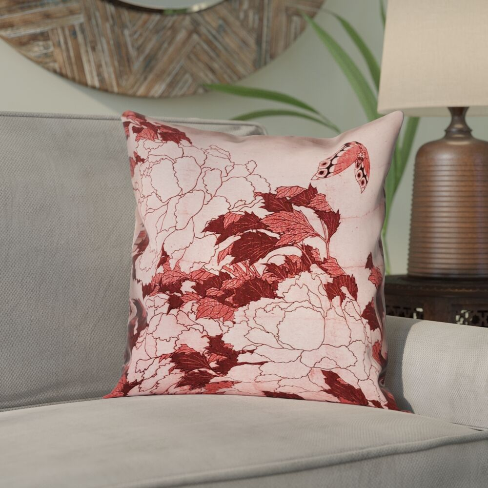 Clair Peonies and Butterfly Square Linen Pillow Cover Size: 14