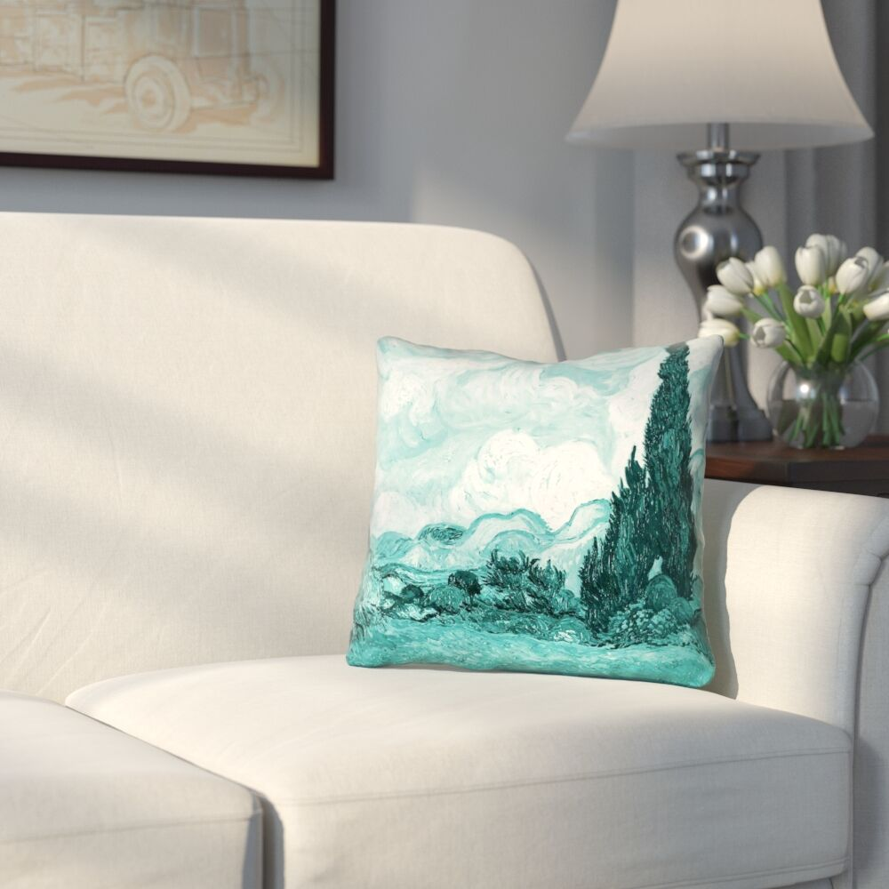 Woodlawn Wheatfield with Cypresses Linen Throw Pillow Size: 20