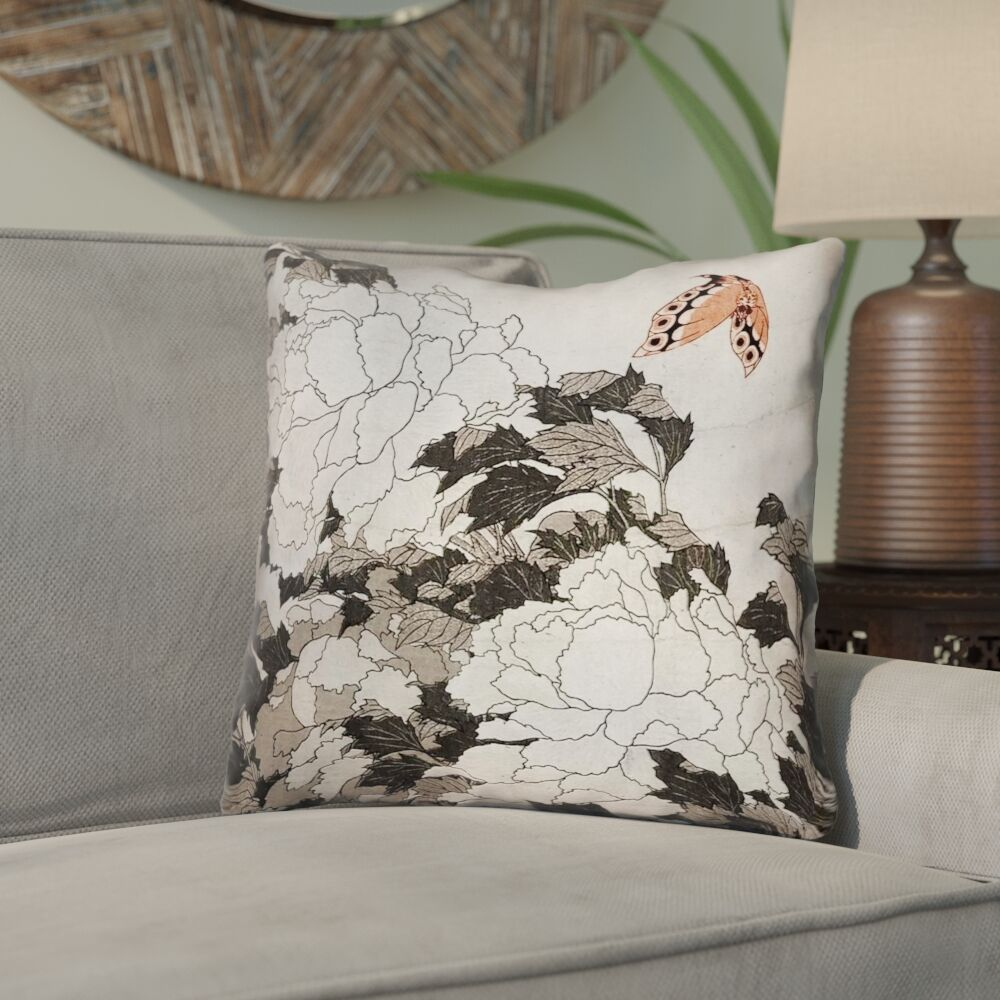 Clair Peonies with Butterfly Indoor Throw Pillow Size: 14