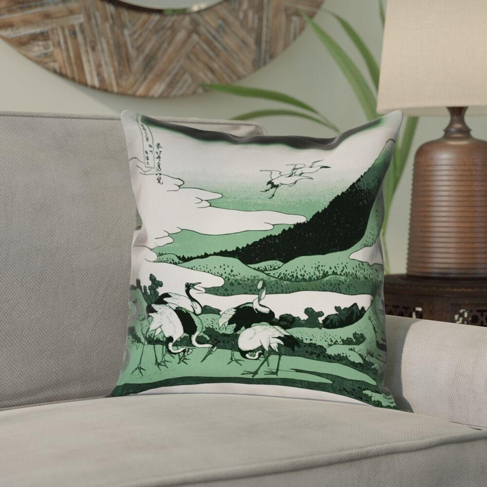 Montreal Japanese Cranes 100% Cotton Pillow Cover Size: 16