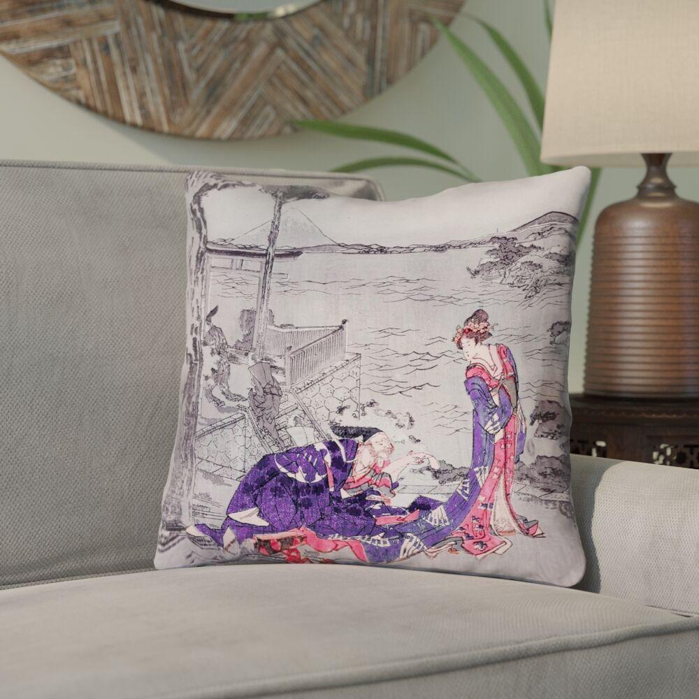 Enya Japanese Courtesan Cotton Throw Pillow Size: 16