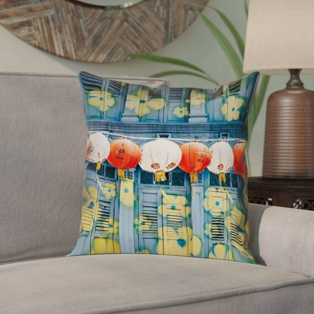 Akini Lanterns in Singapore Pillow Cover Size: 18