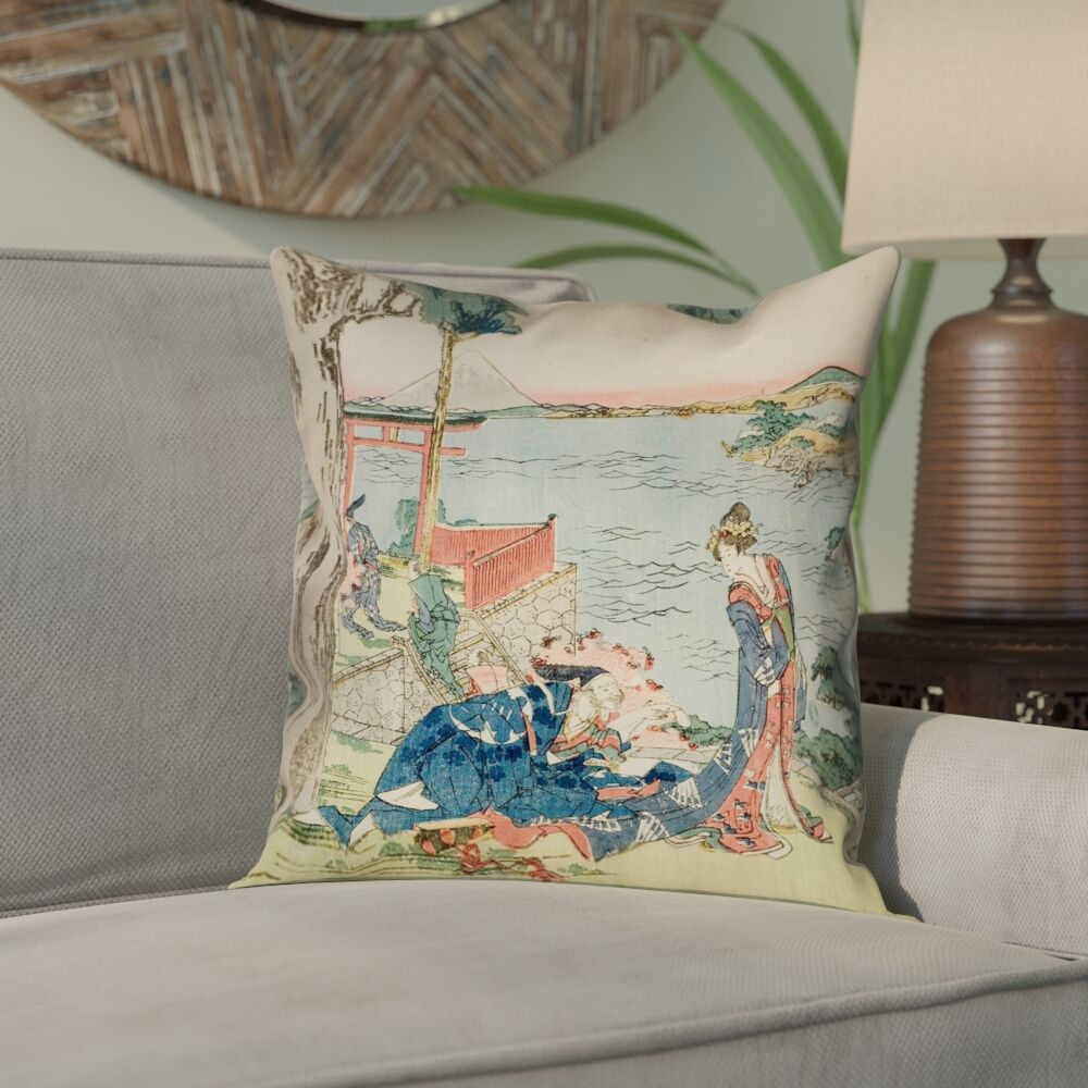 Enya Japanese Courtesan Square Linen Pillow Cover Size: 20