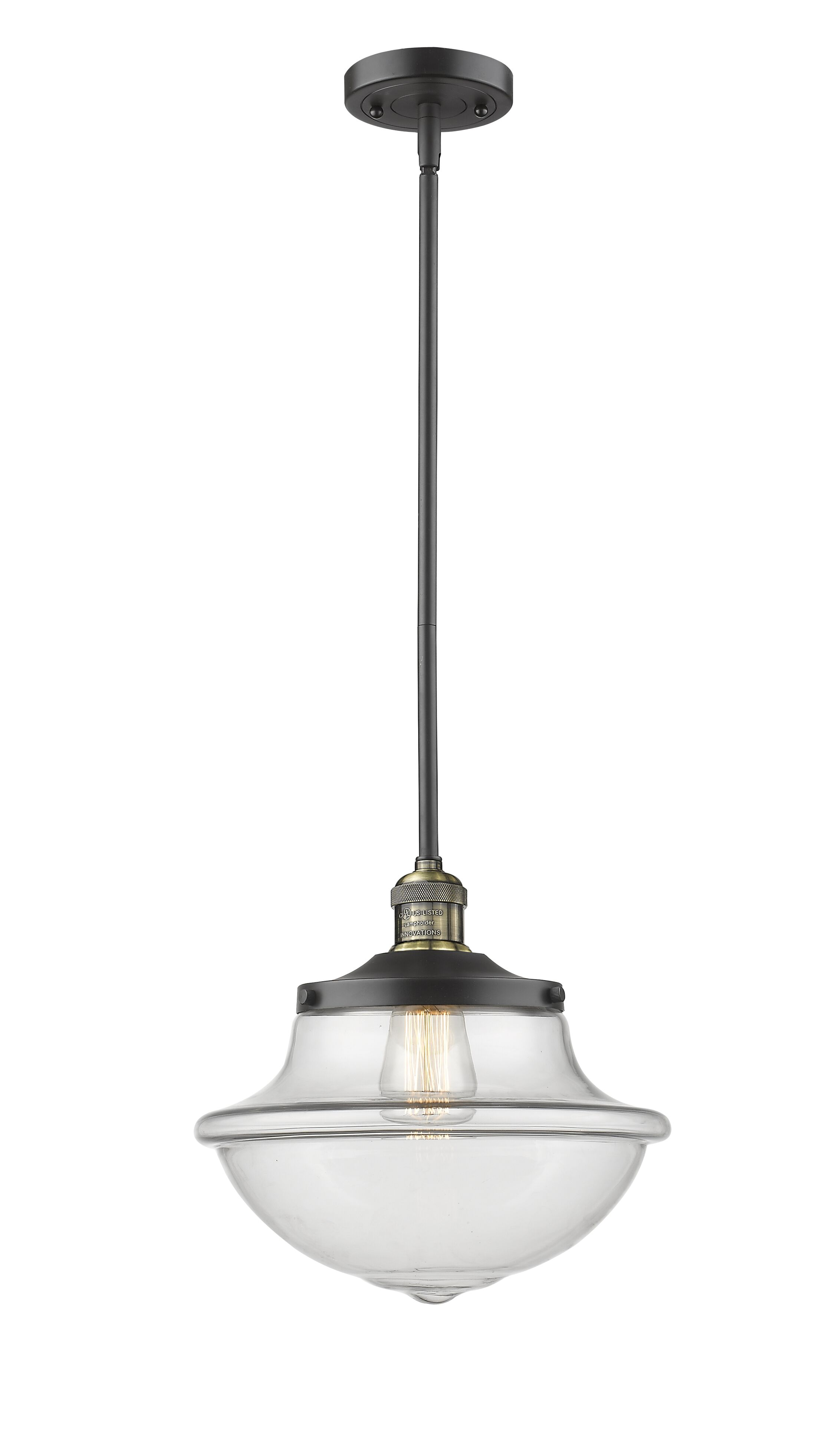Draeger 1-Light Schoolhouse Pendant Finish: Black Brushed Brass, Shade Color: Clear