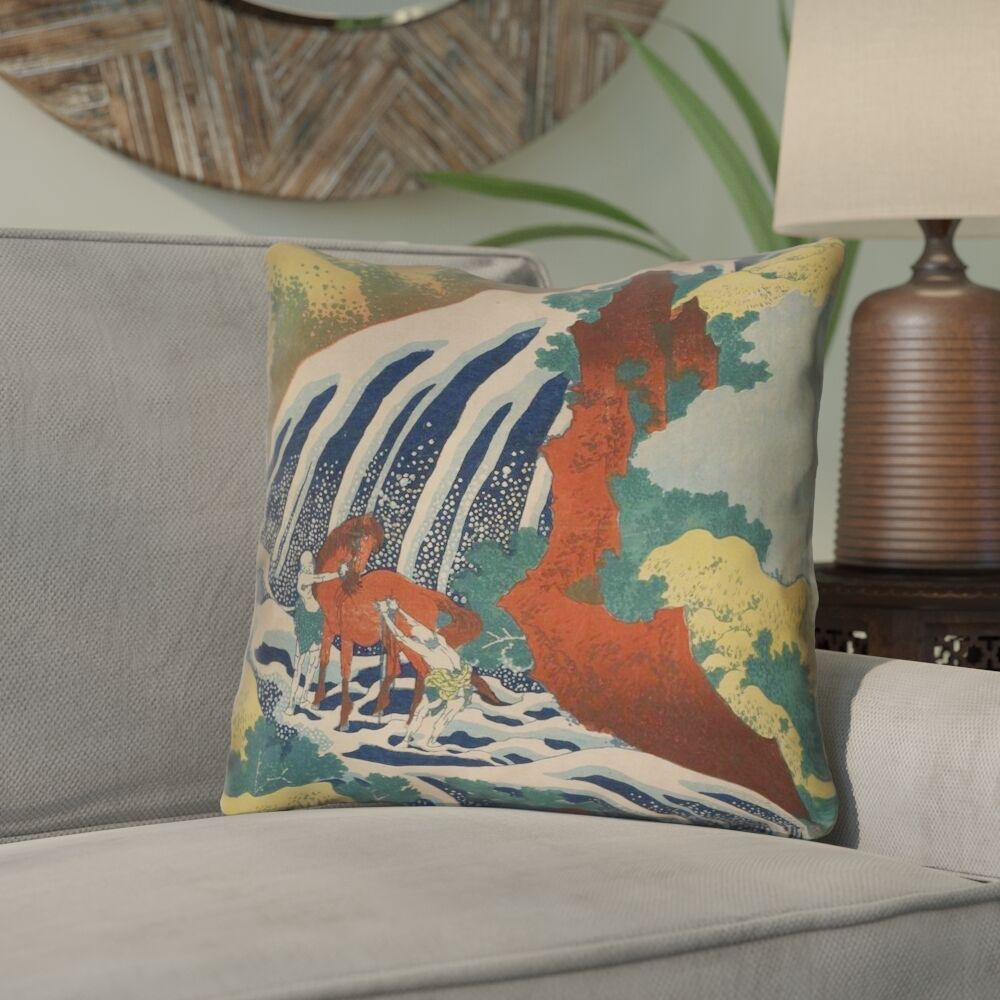 Bolton Horse and Waterfall Throw Pillow Size: 20