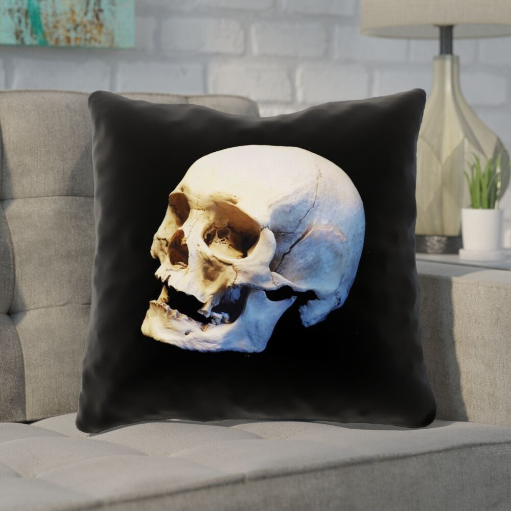 Mensa Skull Square Pillow Cover with Zipper Size: 26
