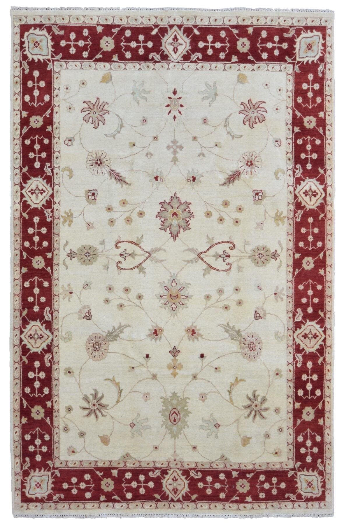 One-of-a-Kind Baron Oriental Hand Woven Wool Beige/Red Area Rug