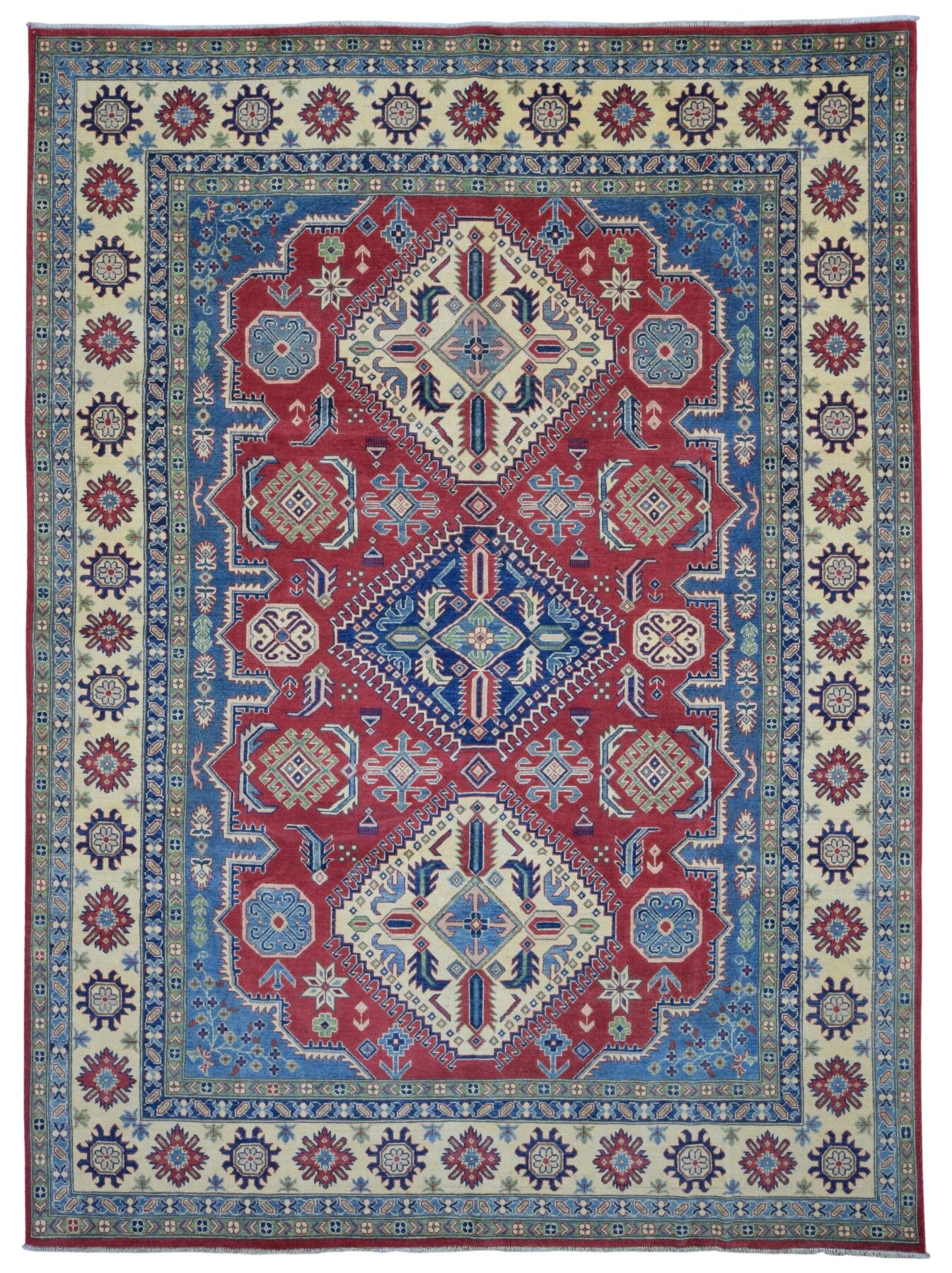 One-of-a-Kind Evert Kazak Oriental Hand Woven Wool Blue/Red Area Rug