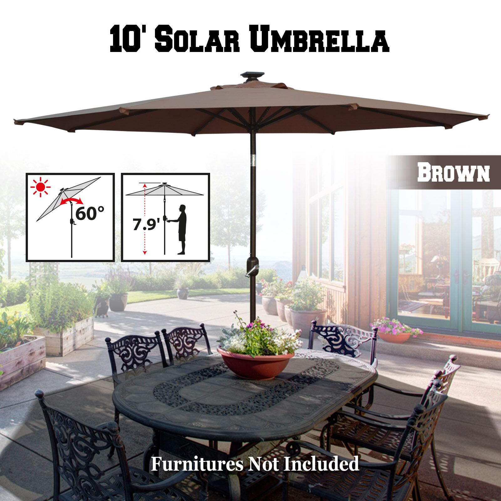 Yasmin Solar Patio 10' Market Umbrella Fabric Color: Brown