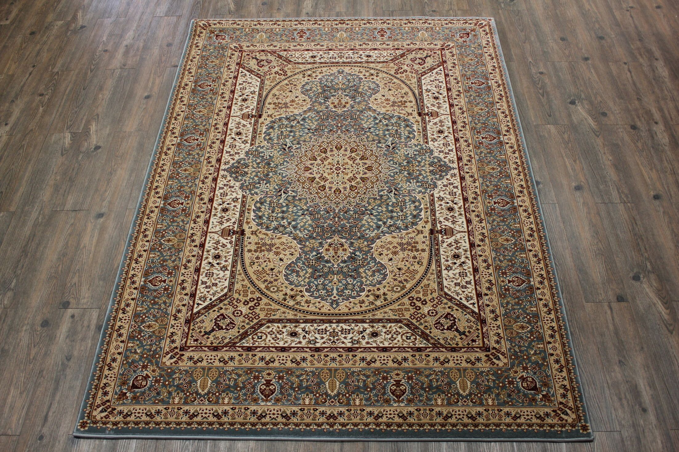 Boulevard Traditional Oriental Blue/Red Indoor Area Rug Rug Size: Rectangle 5'3