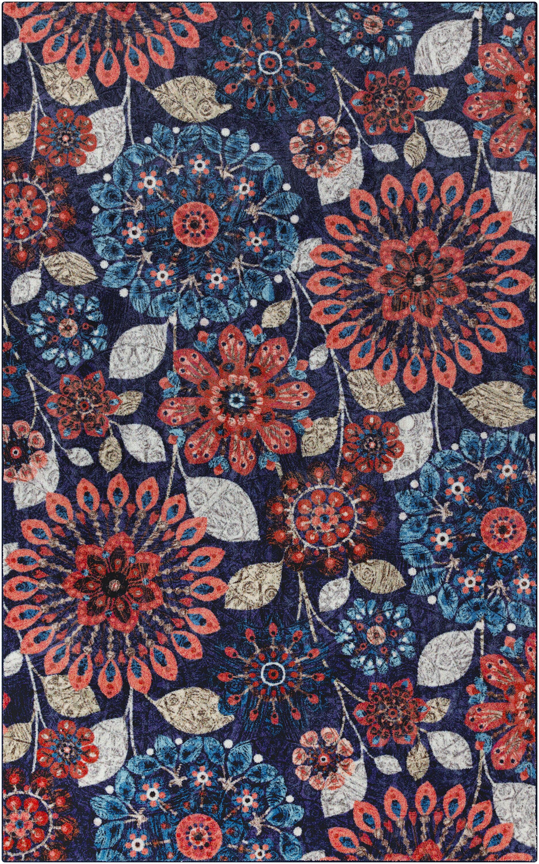 Fedna Floral Dream Navy/Red Area Rug Rug Size: 8'x10'