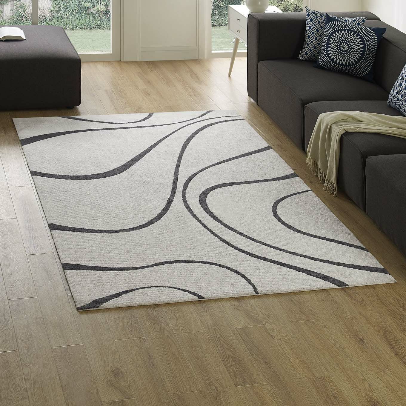 Winvian Abstract Swirl Ivory/Charcoal Area Rug Rug Size: Rectangle 5' x 8'