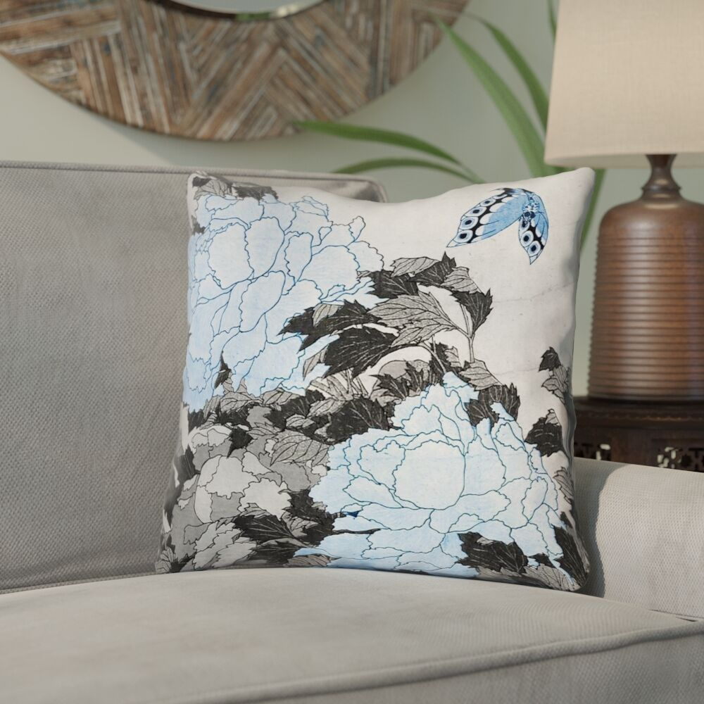 Clair Peonies and Butterfly Indoor Square Throw Pillow Size: 20
