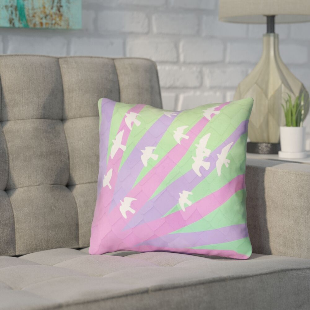 Enciso Birds and Sun 100% Cotton Throw Pillow Size: 16