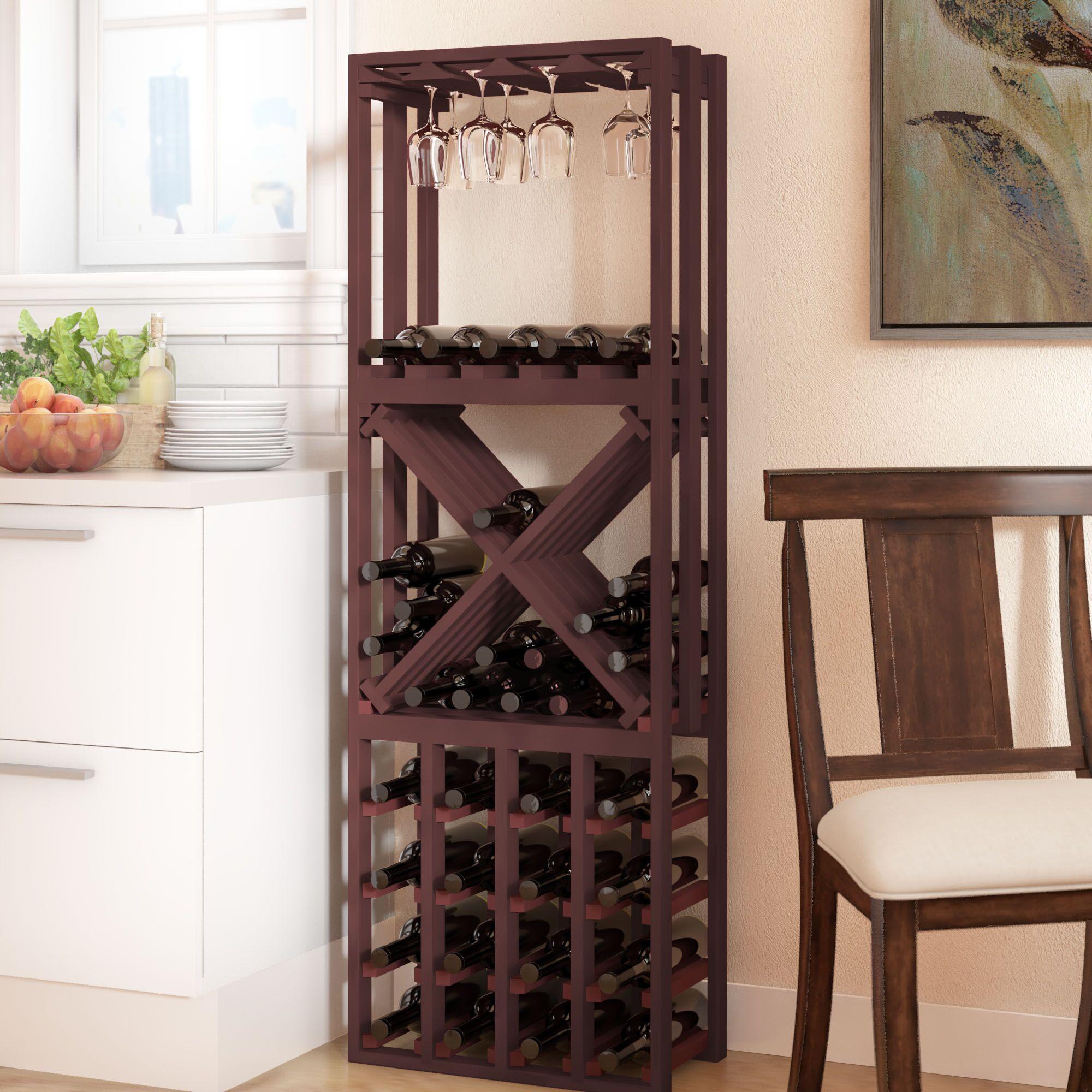 Karnes Pine Lattice Stacking Cube 45 Bottle Floor Wine Rack Finish: Walnut