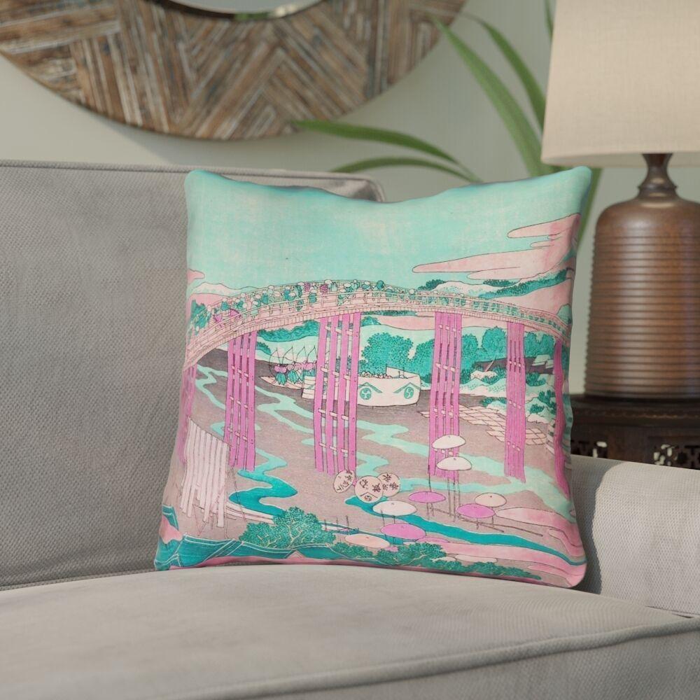 Enya Japanese Bridge Linen Throw Pillow Size: 14