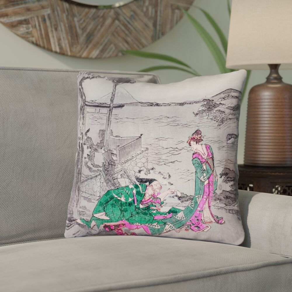 Enya Japanese Courtesan Down Alternative Throw Pillow Color: Green, Size: 26