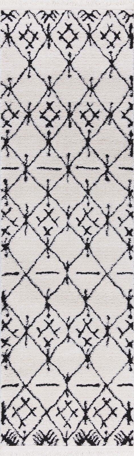 Hervey White/Charcoal Area Rug Rug Size: Runner 2'3