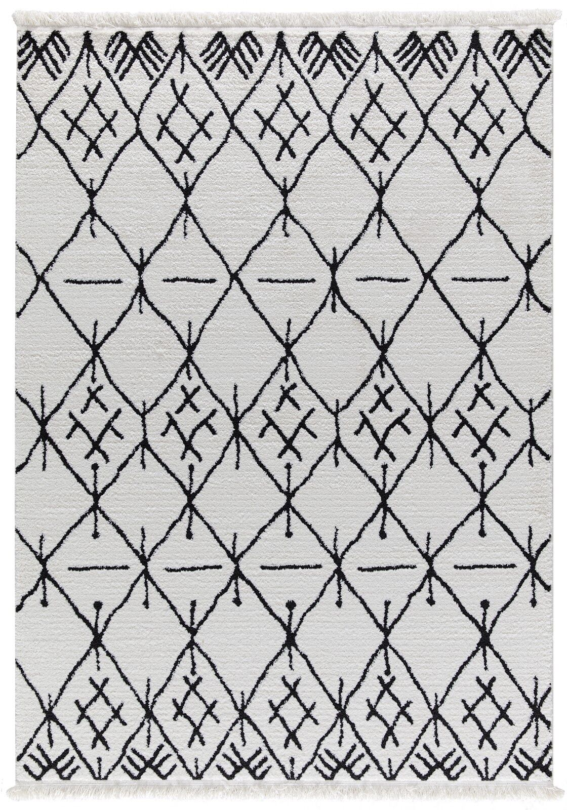 Hervey White/Charcoal Area Rug Rug Size: Rectangle 5'2