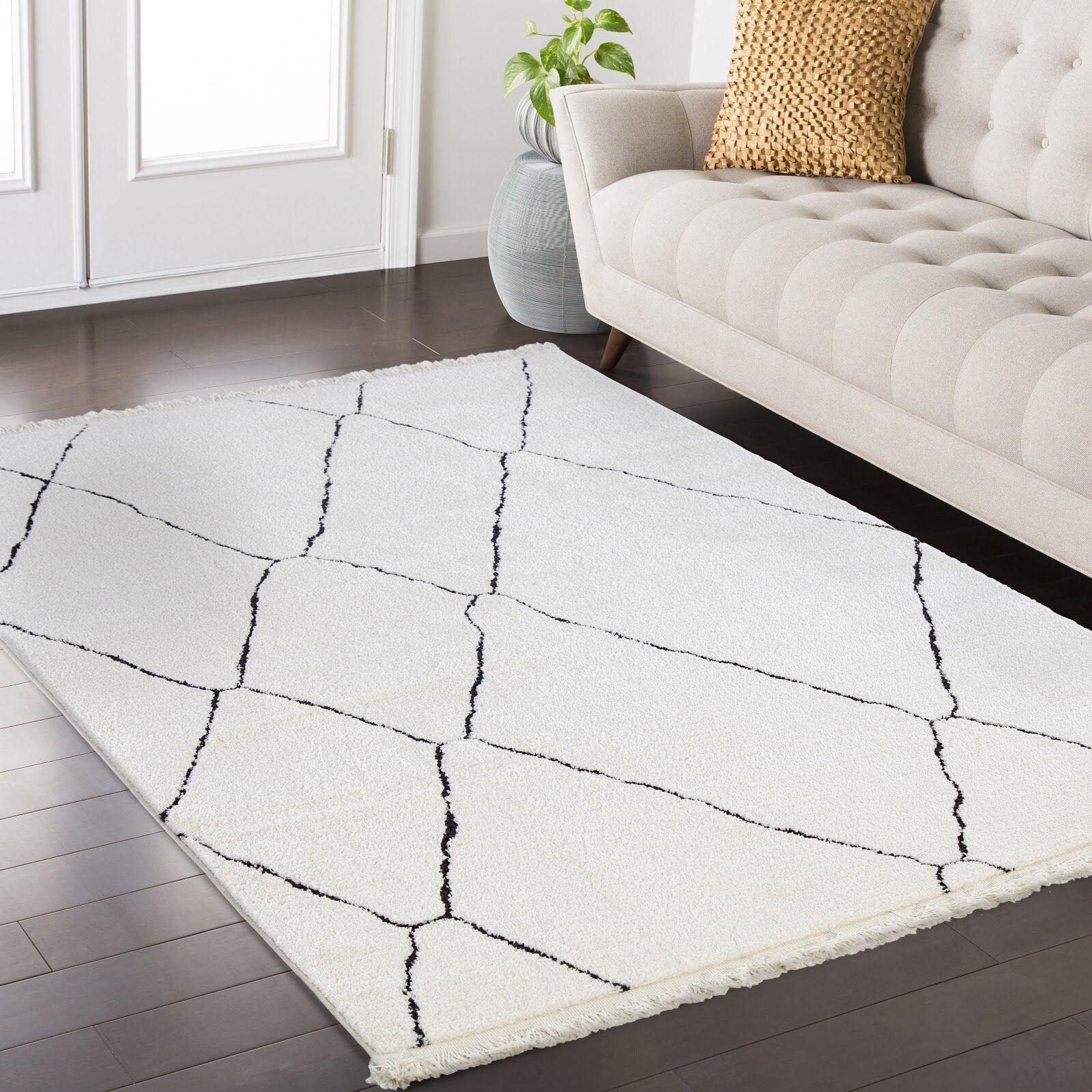 Hervey White/Charcoal Area Rug Rug Size: Rectangle 3'9