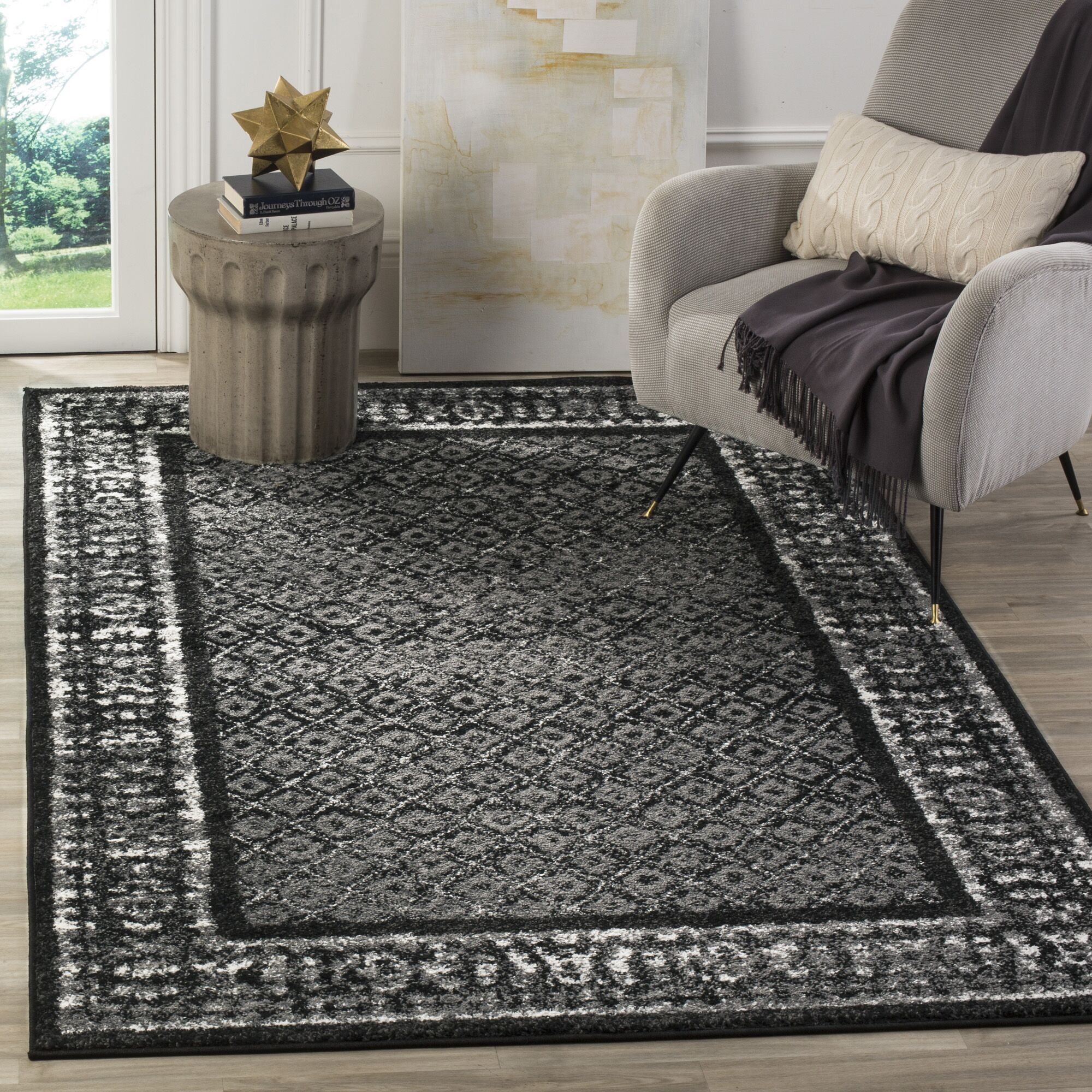 Norwell Black/Silver Area Rug Rug Size: Rectangle 5'1