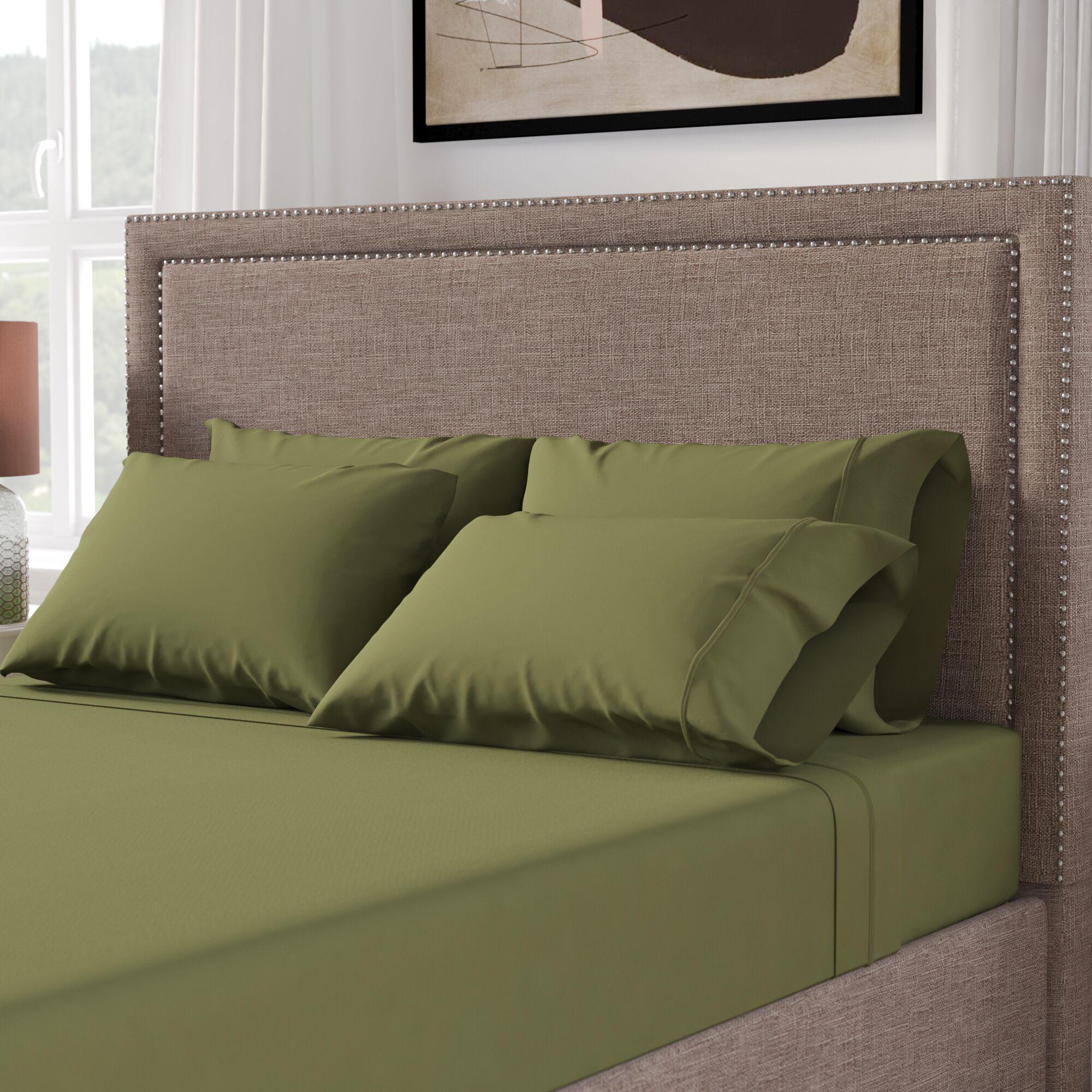Cullen 800 Thread Count 100% Cotton Sheet Set Size: Full/Double, Color: Sage