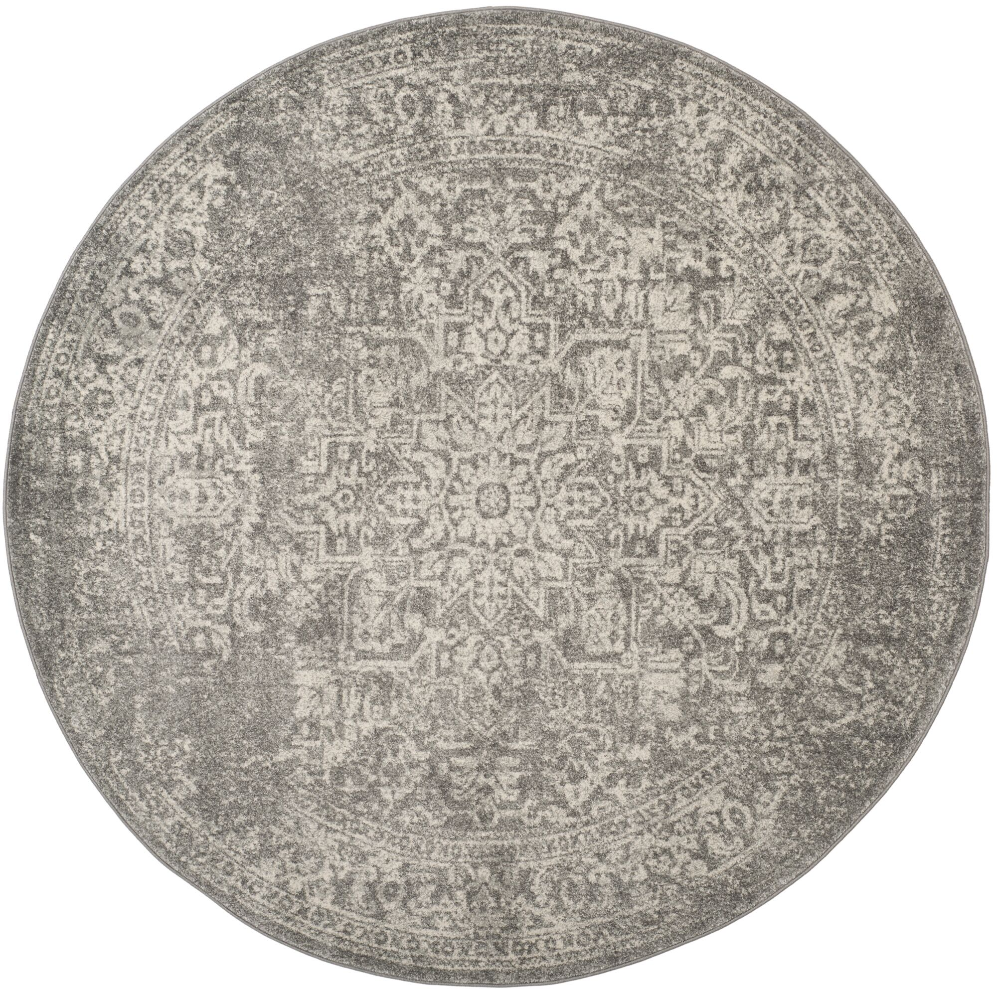 Chaudiere Silver/Ivory Area Rug Rug Size: Round 6'7