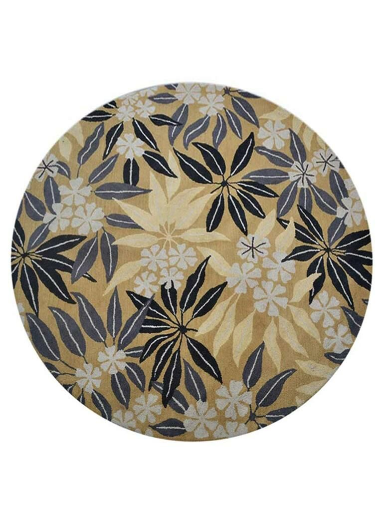 Campas Hand-Tufted Gold Area Rug Rug Size: Round 8'