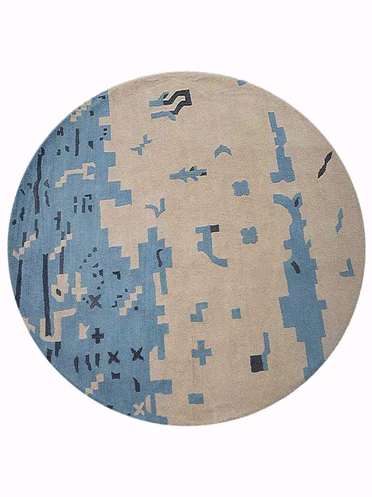 Johansson Hand-Tufted Beige/Blue Area Rug Rug Size: Round 8'