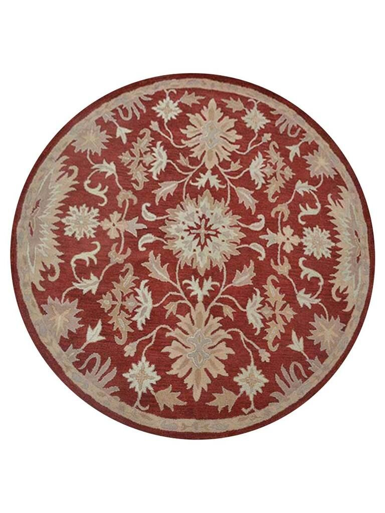 Creamer Hand-Tufted Red Area Rug Rug Size: Round 8'