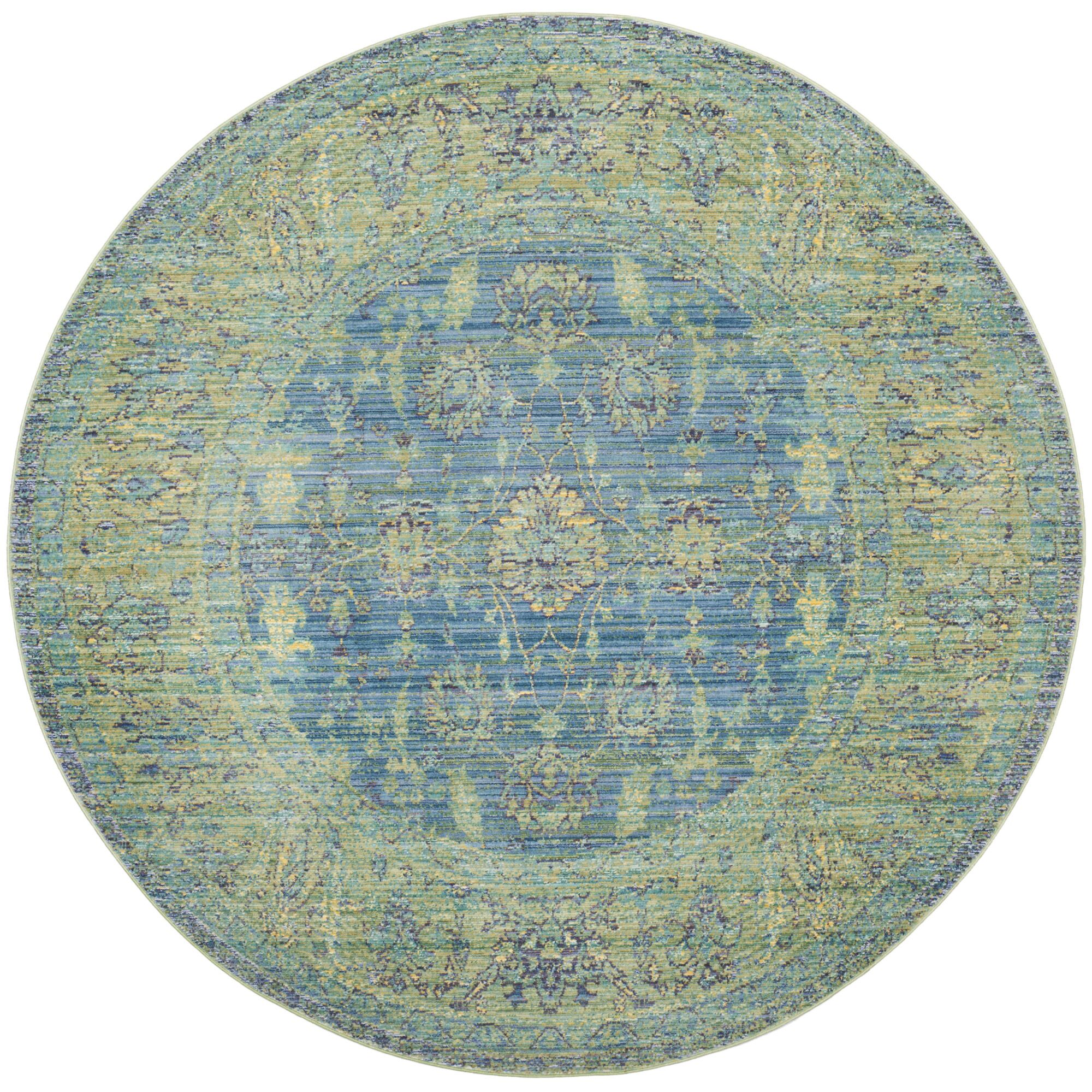 Doline Blue/Yellow Area Rug Rug Size: Round 6'7