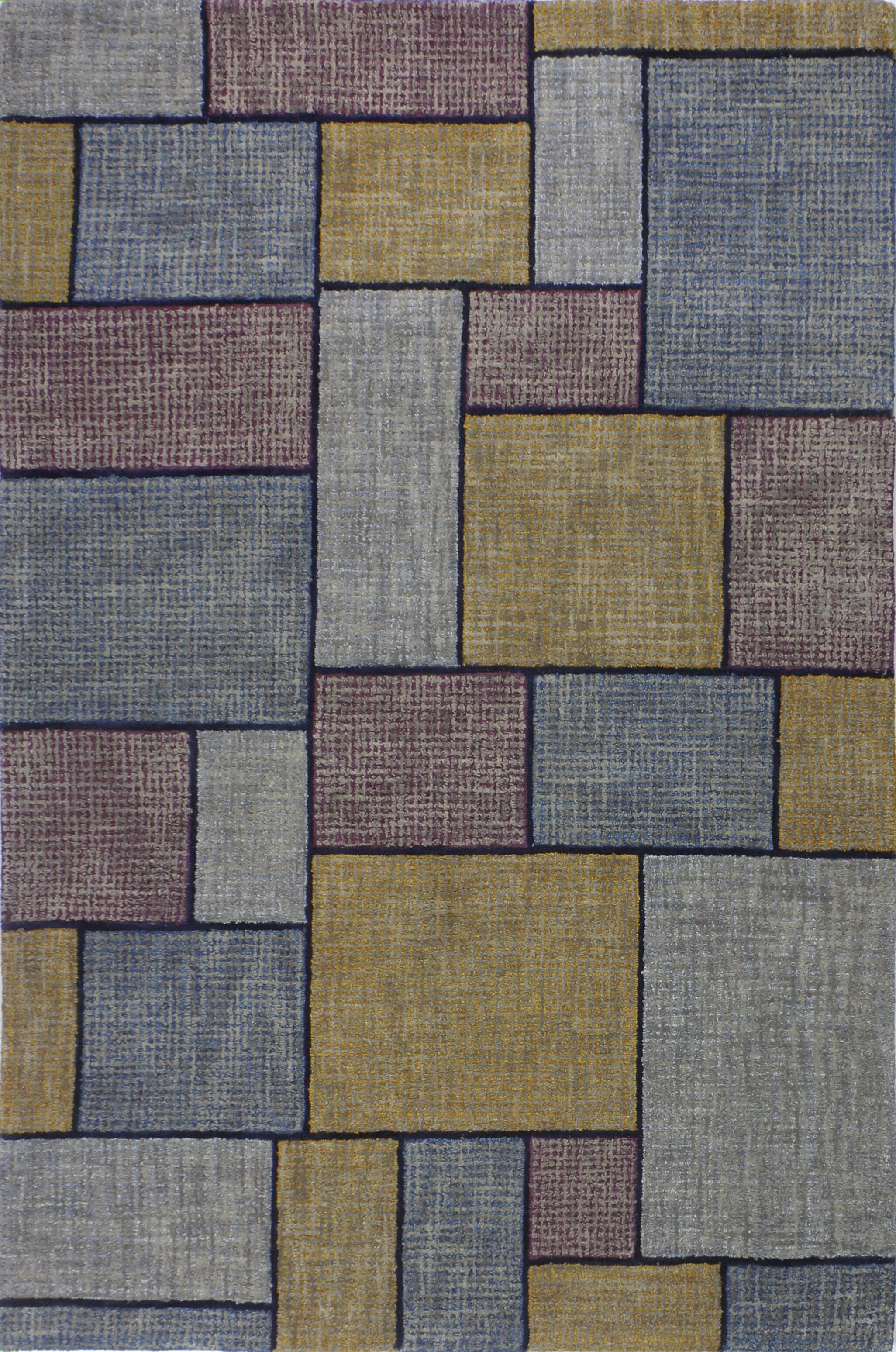 Kory Hand-Woven Wool Blue/Yellow Area Rug Rug Size: Runner 2'6