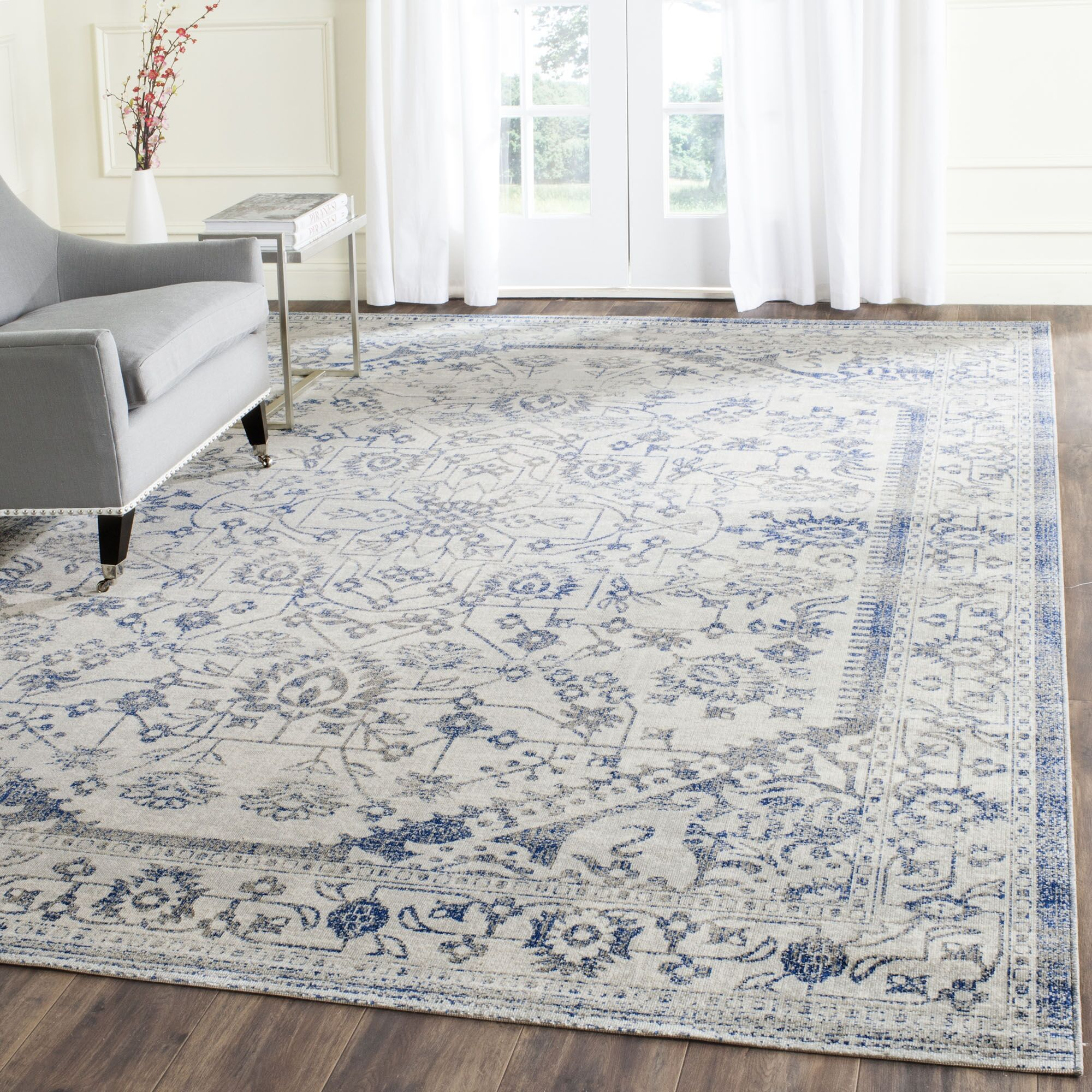 Harwood Cotton Silver/Blue Area Rug Rug Size: Rectangle 8' x 10'