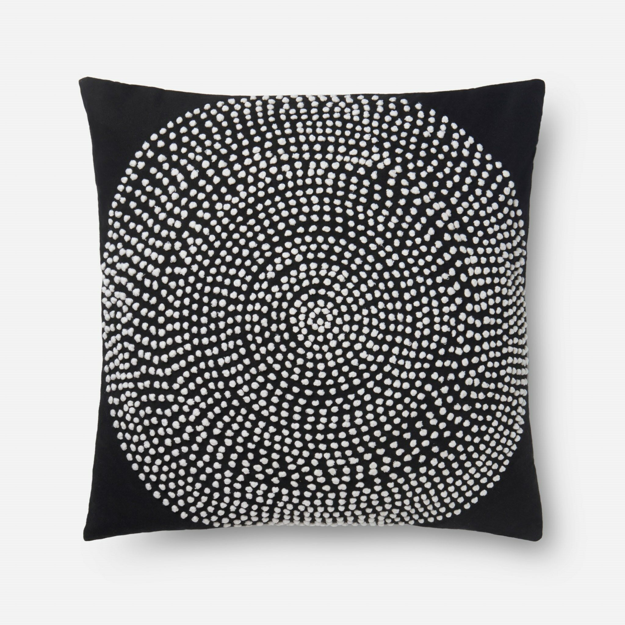 100% Cotton Pillow Color: Black, Fill Material: Polyester, Type: Throw Pillow