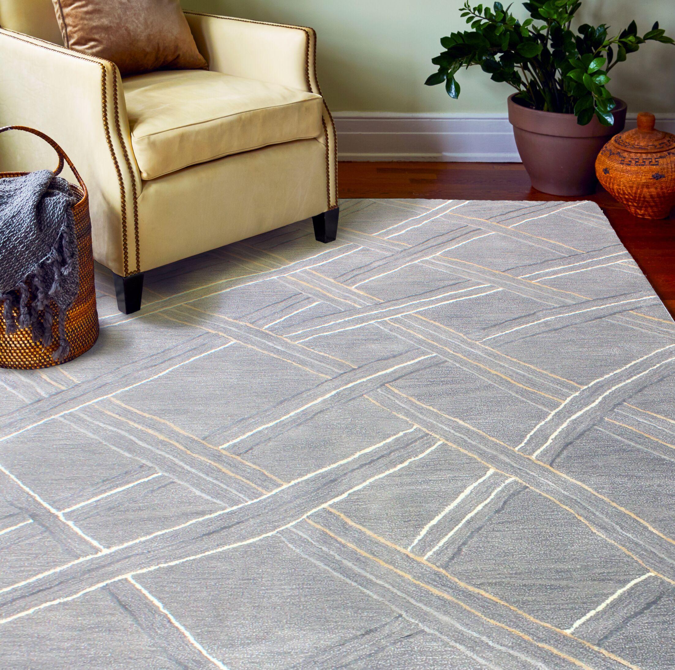 Pearl Street Artsilk Hand-Woven Wool Gray Area Rug Rug Size: Rectangle 5'6