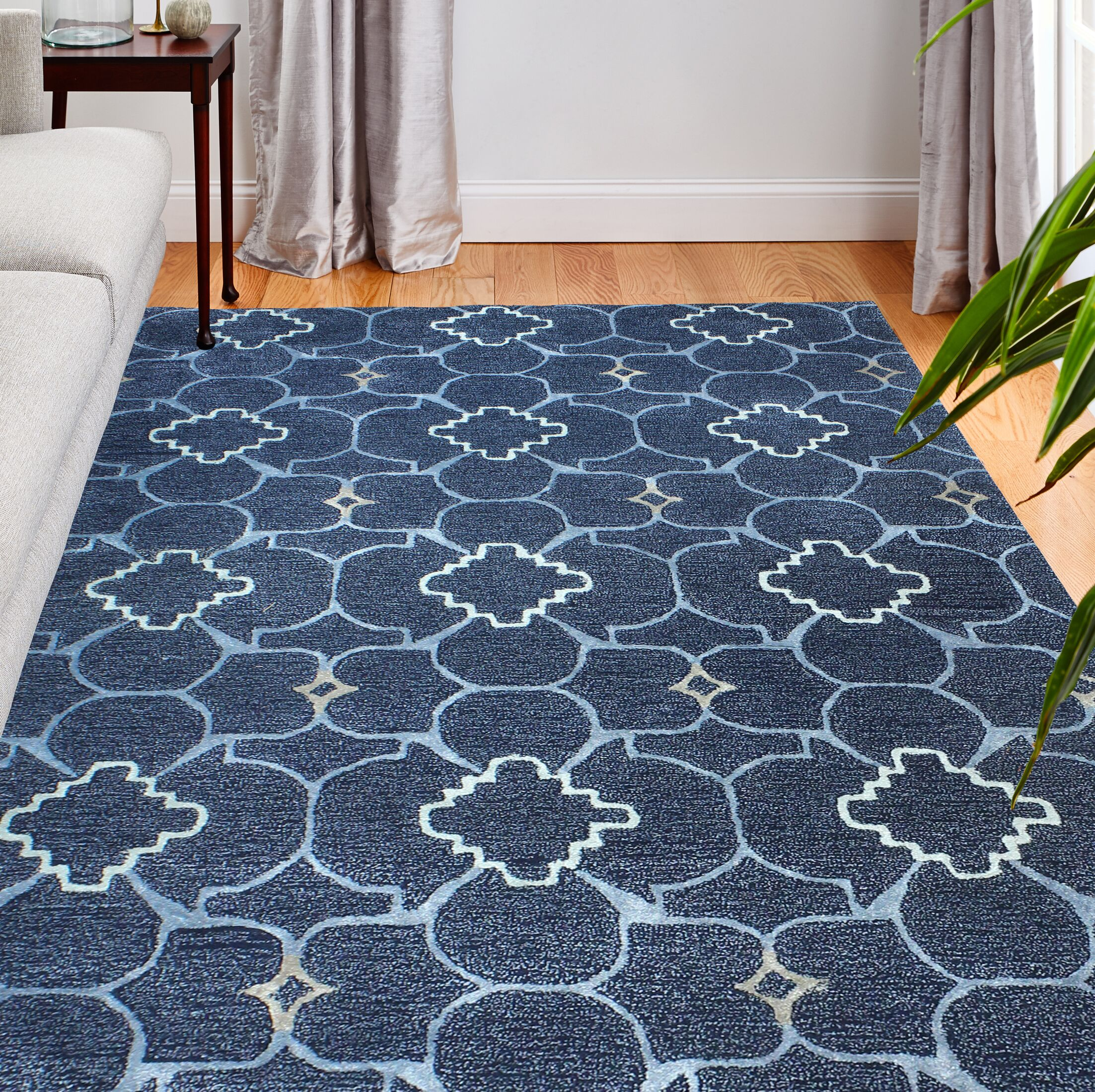 Skyler Art Silk Hand-Woven Wool Navy Area Rug Rug Size: Rectangle 7'9