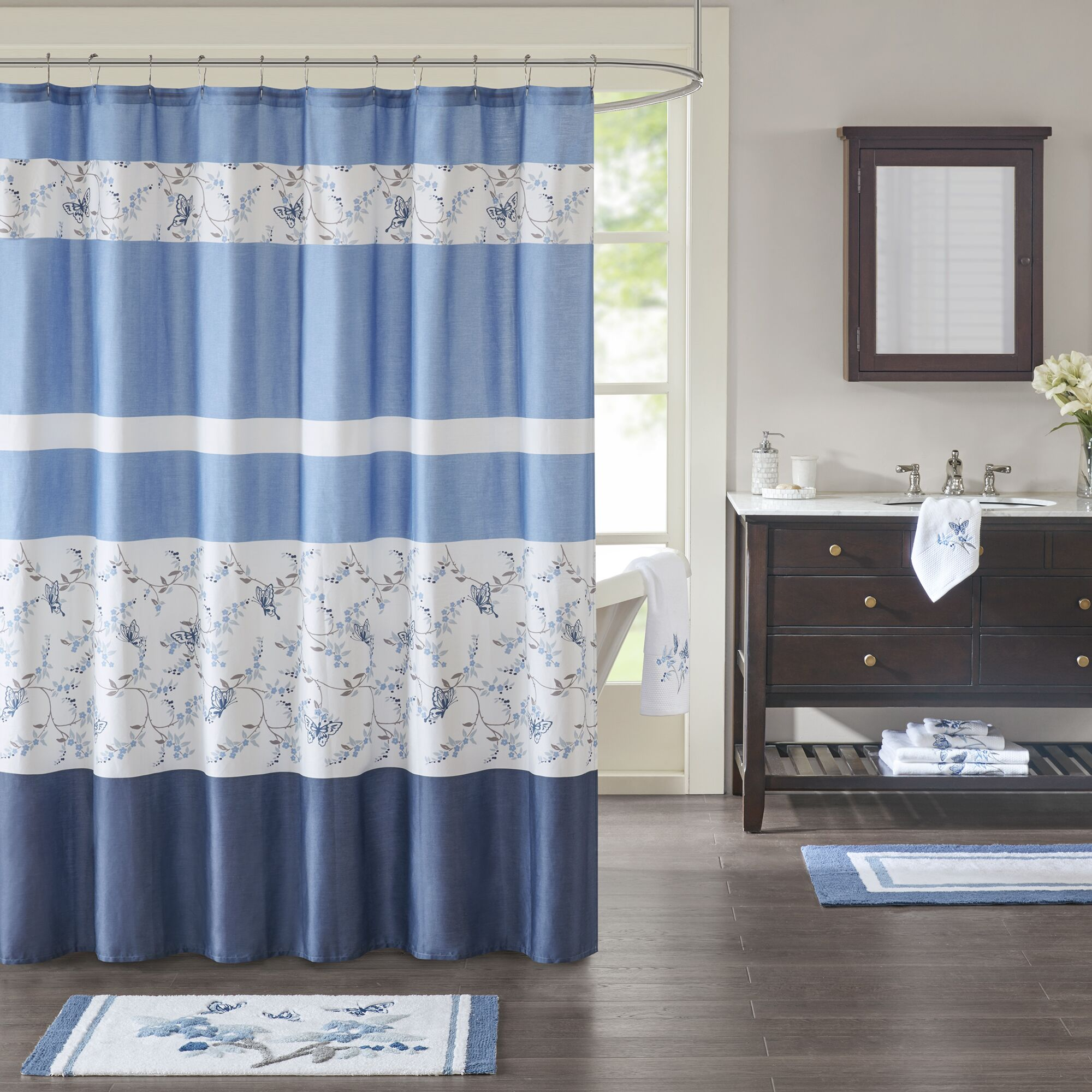 Honore 100% Cotton Shower Curtain