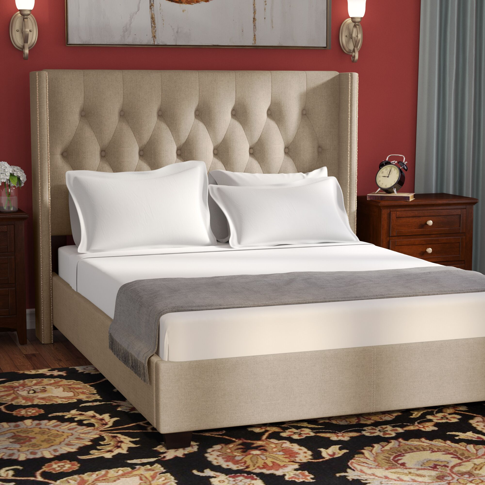 Rumford Upholstered Panel Bed Color: Brown, Size: King