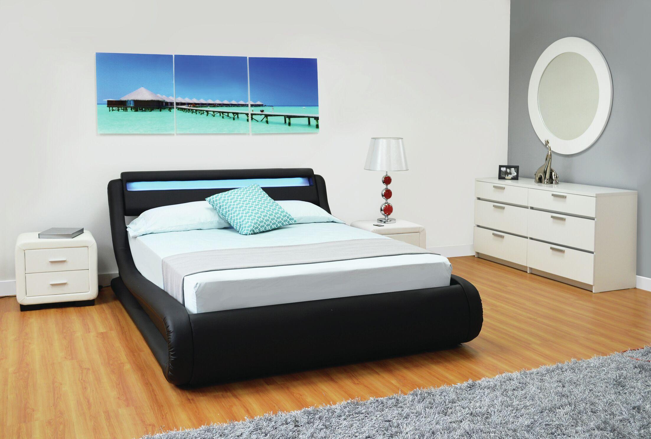 Haskett Serpentine Storage Platform Bed Color: Black, Size: Queen