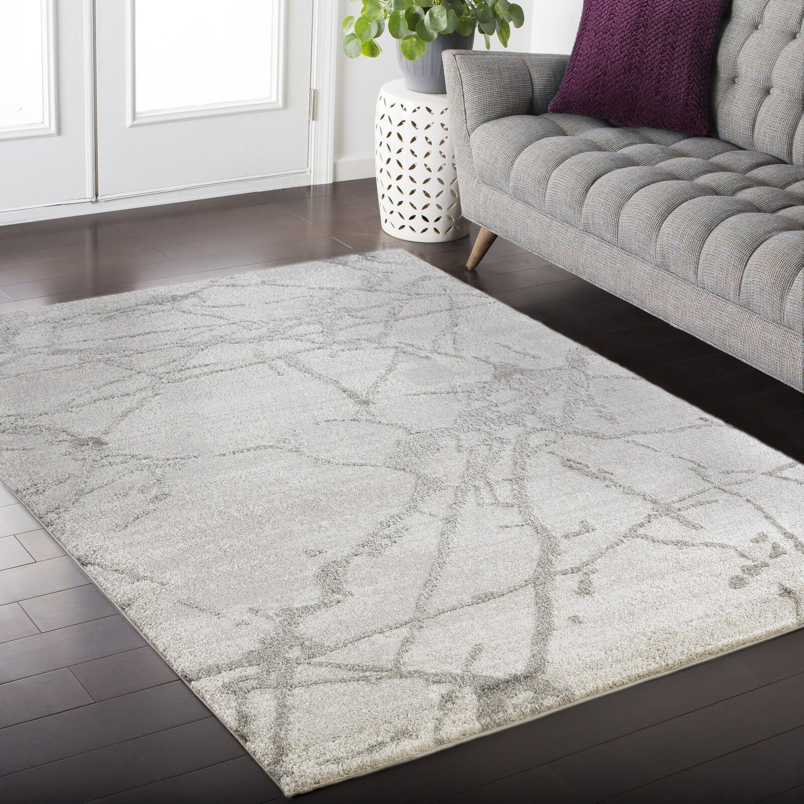Crider White/Gray Area Rug Rug Size: Rectangle 3'9