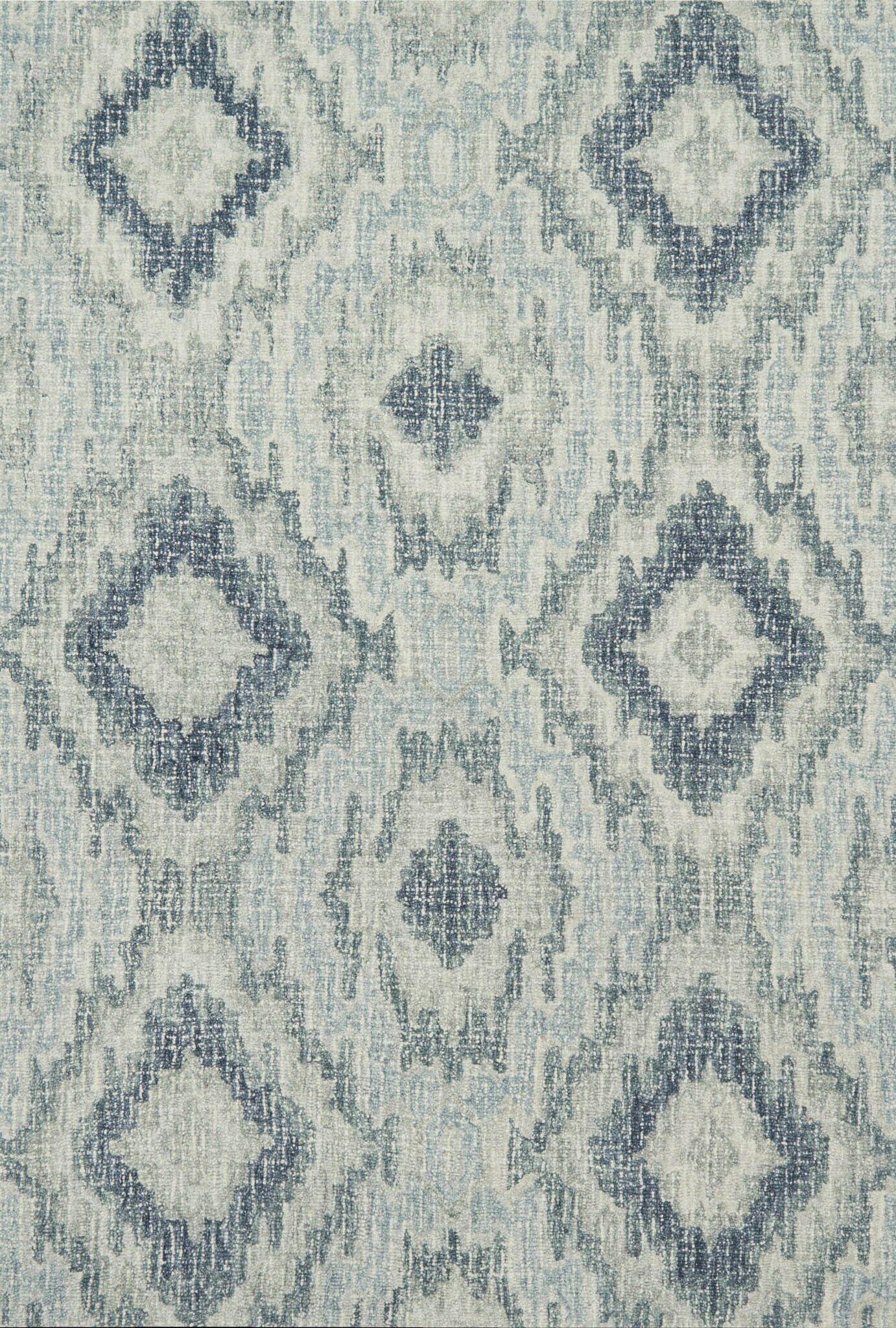 Zeinab Hand Hooked Wool Slate/Silver Area Rug Rug Size: Rectangle 3'6
