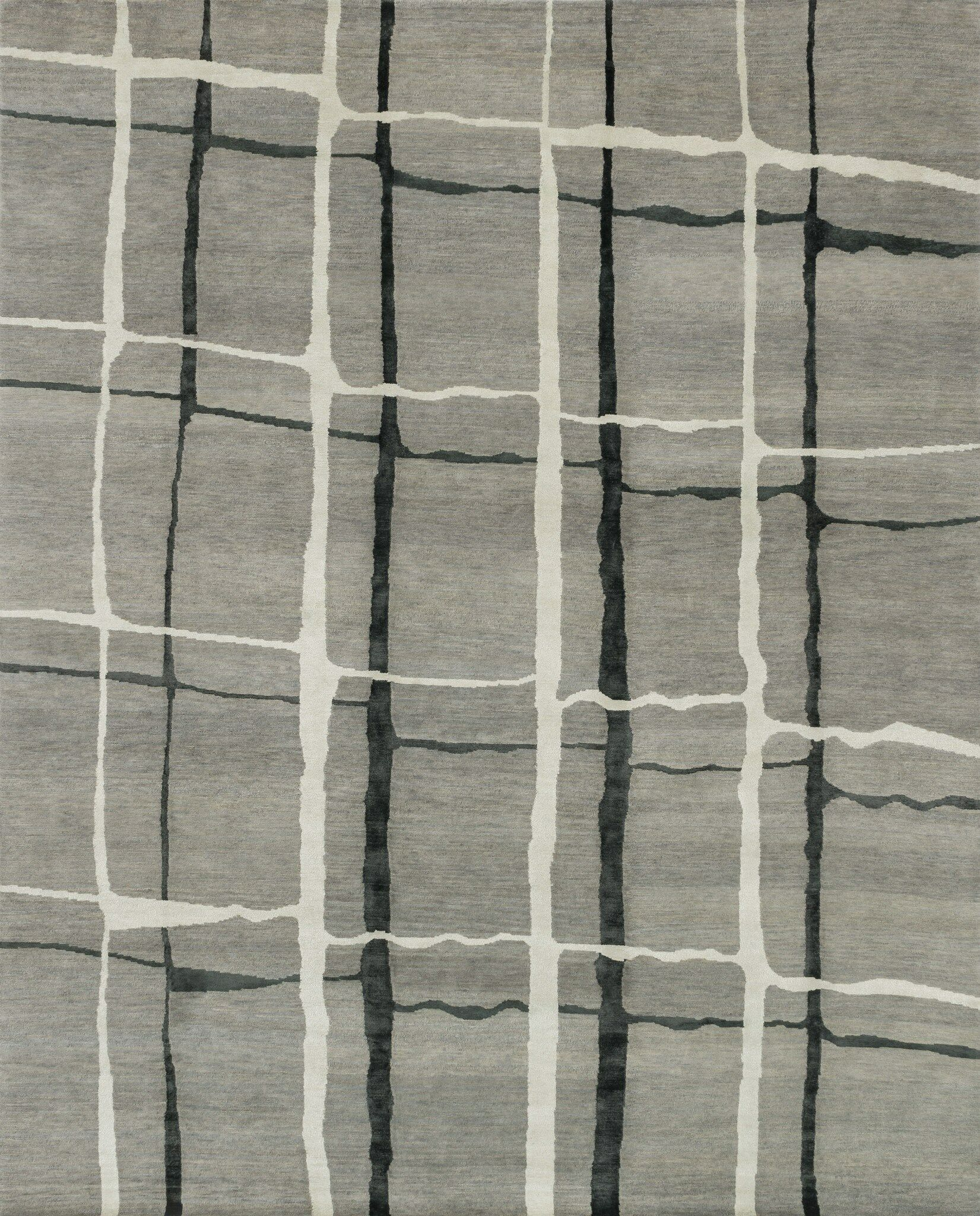 Pickrell Hand-Knotted Gray Area Rug Rug Size: Rectangle 7'9