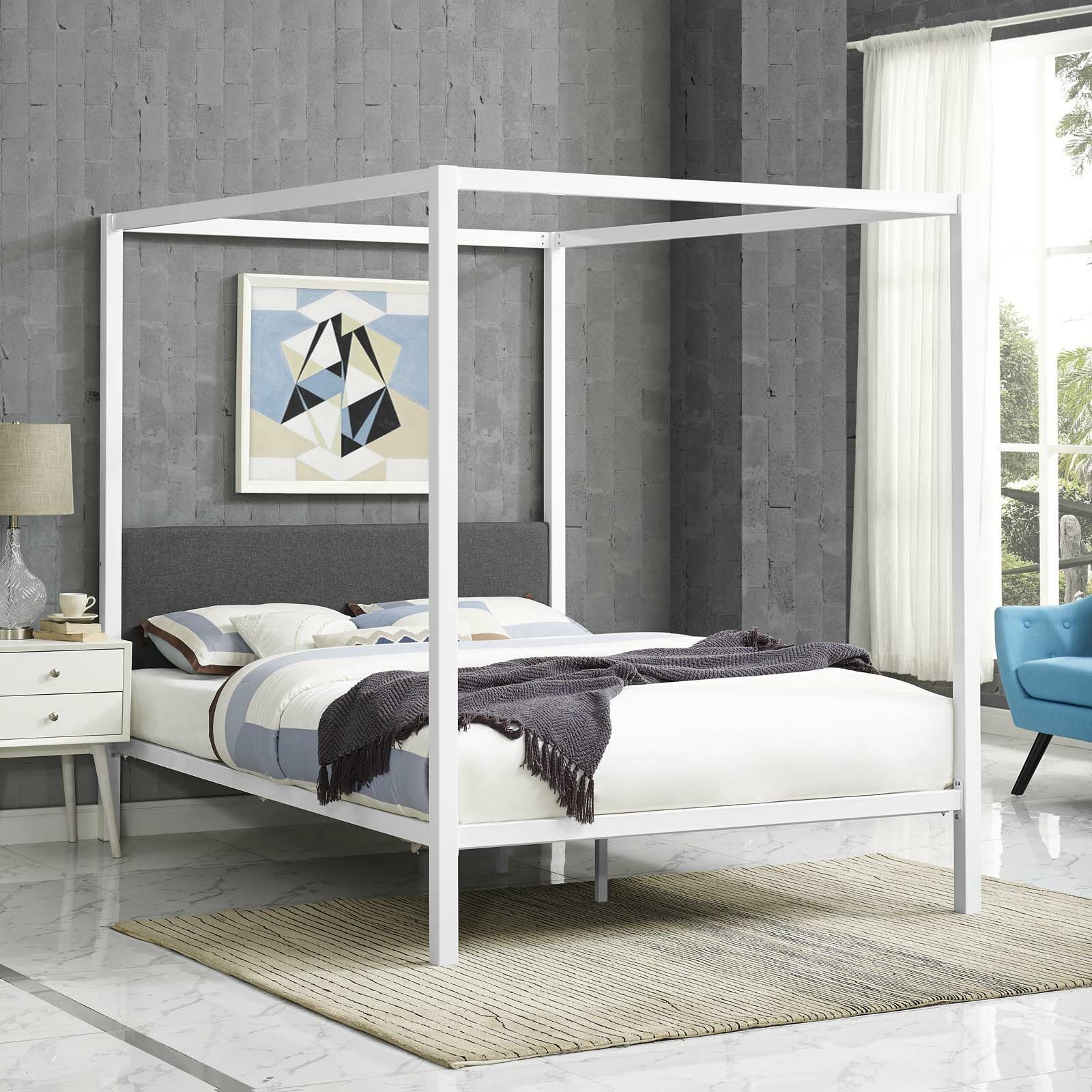 Ferro Canopy Bed Frame Color: White/Gray