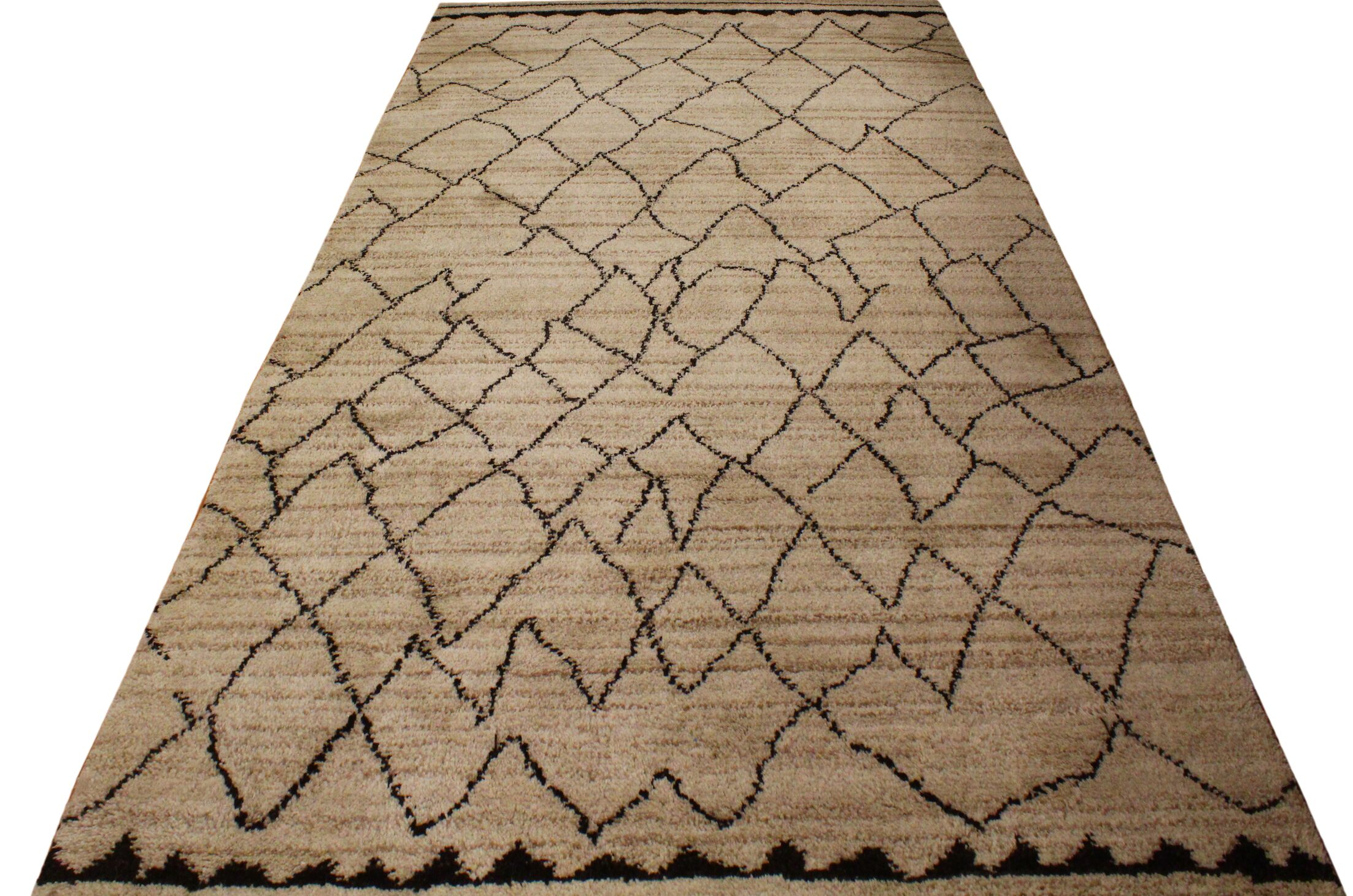 Pegues Hand Knotted Wool Tan/Dark Brown Indoor Area Rug Rug Size: Rectangle 5' x 8'