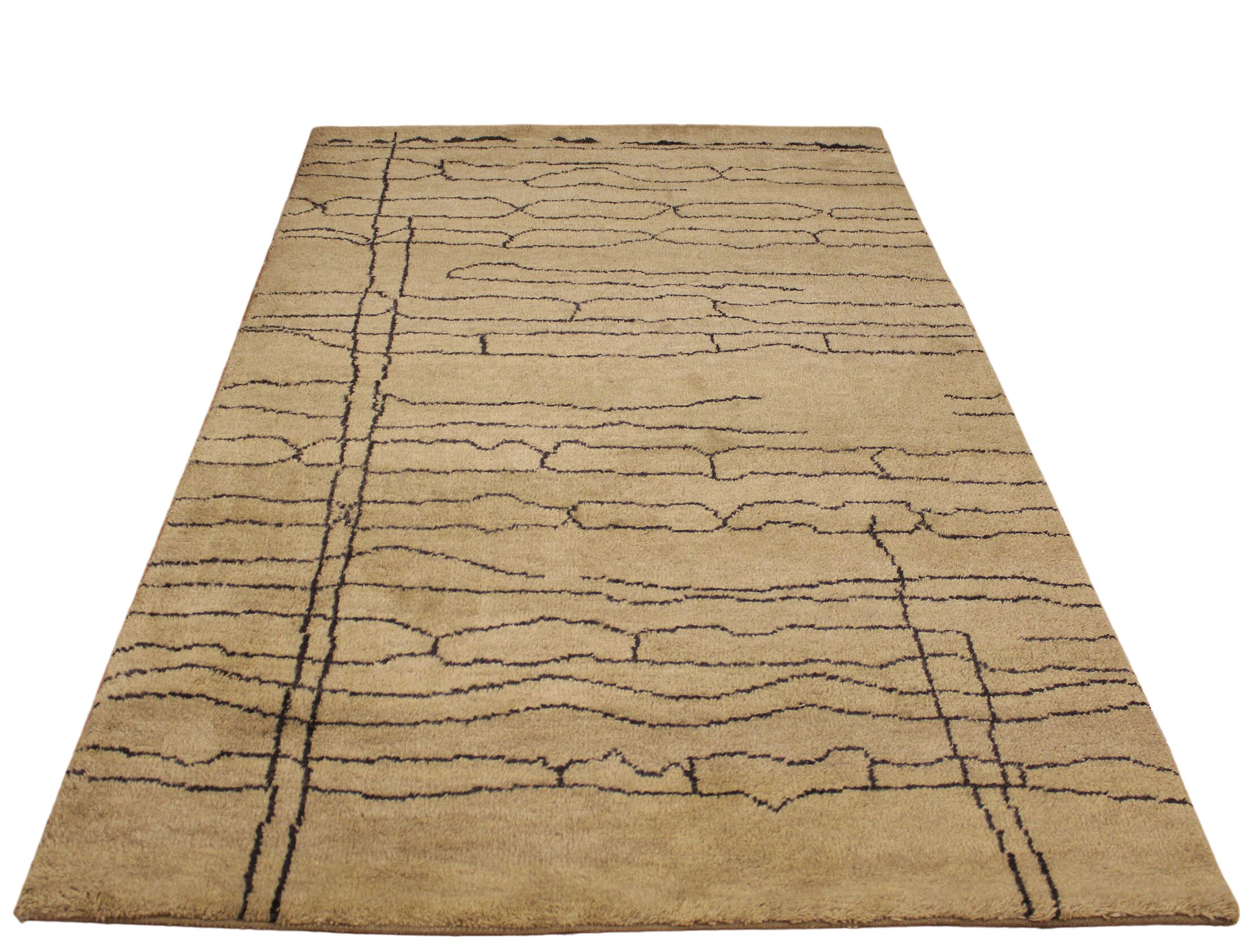 Crosstown Hand Knotted Wool Tan/Dark Brown Indoor Area Rug Rug Size: Rectangle 6' x 9'